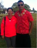 Debra Allen and Pita Taufatofua, the Tongan Olympic flag bearer