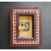Framed Lure Hook with Shell - Carving