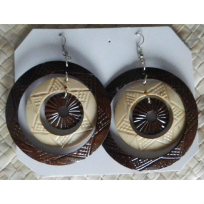 Coconut Earrings - Carving
