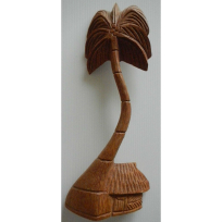 Fale with Coconut Tree - Carving